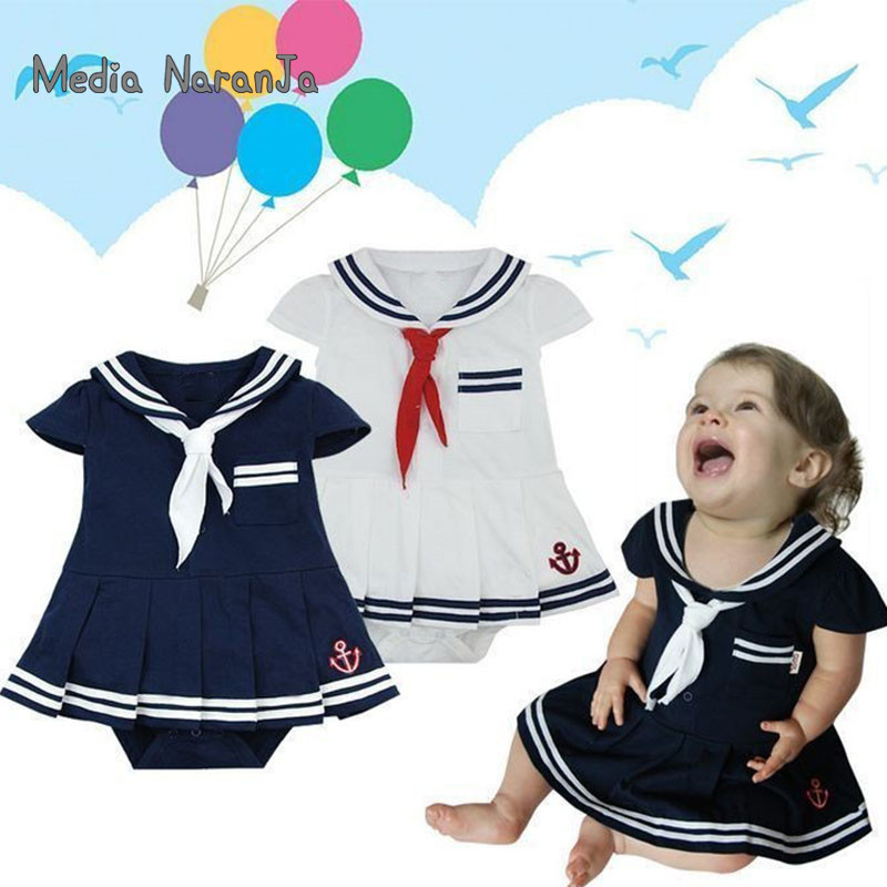 Baby girls rompers infants toddler Sailor navy dress style jumpsuit Kids 2colors Blue White Short Sleeve summer clothes