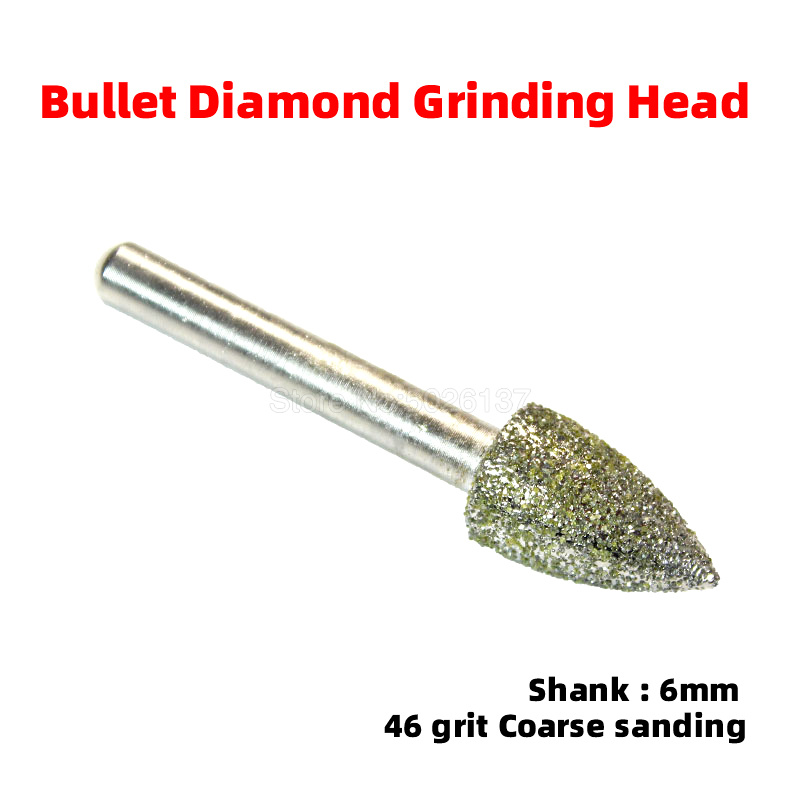 1Pcs 46 Grit Diamond Grinding Head Bullet Rotary Bit Glass Jade Stone Carving Drilling Brazed Burrs Alloy Peeling Polishing Tool