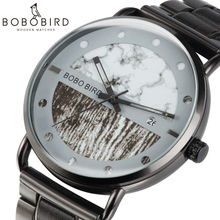 Saat erkek Wooden Watches Men Wristwatch Quartz Clock BOBO BIRD Show date Gift in Wood Box in Wood Box Customize Logo цена