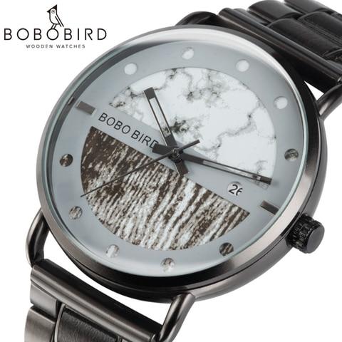 Saat erkek Wooden Watches Men Wristwatch Quartz Clock BOBO BIRD Show date Gift in Wood Box in Wood Box Customize Logo Pakistan