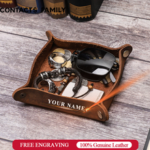 Creative Genuine Leather Valet Snap Tray Ofiice Desk Organizer For Jewelry Pen Key Coin Desk Accessories Storage Catchall Bowl
