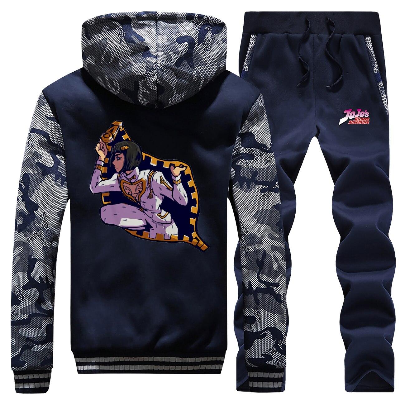 Anime Harajuku Hoodies Suit Winter Fleece Men Sweatshirt JoJo Bizarre Adventure Graphic Tracksuit Mens Jacket+Pants 2 Piece Sets