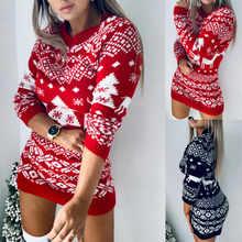 Suéter navideño de ciervo para mujer, suéter Sexy y cálido de punto de manga larga, vestido ajustado de talla grande, top de invierno 2020