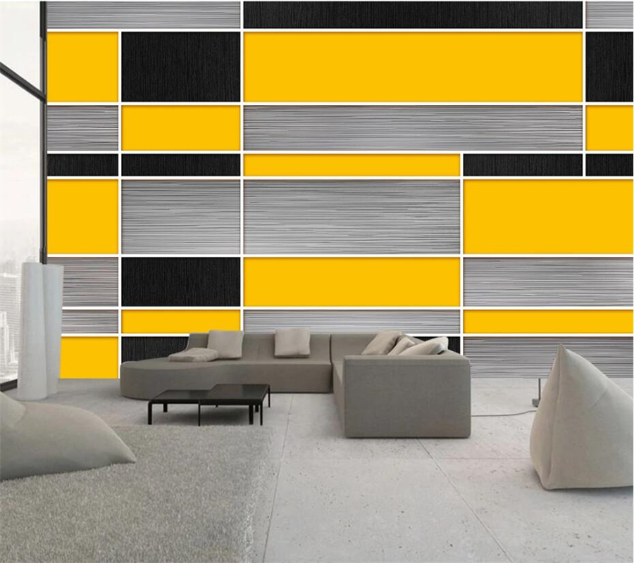 Wellyu Disesuaikan Besar Mural Fashion Dekorasi Rumah Hitam Kuning Abu abu Geometris Mosaik Latar Belakang Wallpaper