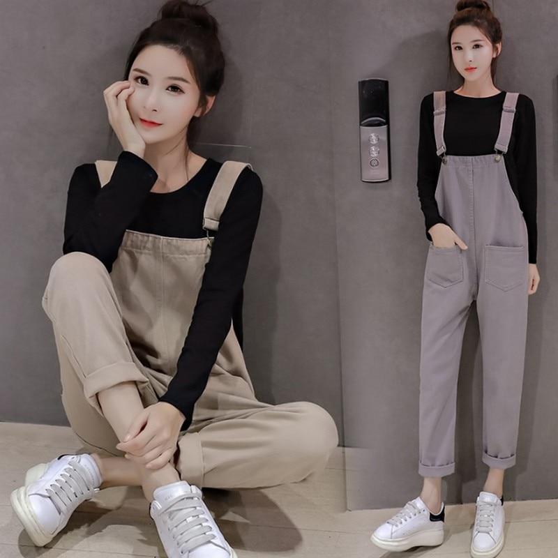 Rompers Women Jumpsuit Autumn Korean Solid Pockets Denim Jumpsuits Women Casual Slim Strap High Waist Overalls Jean Romper