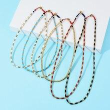 Простое Ожерелье из бусин в виде плитки, Женская цепочка из бисера, короткое ожерелье чокер, ювелирные изделия в стиле бохо, чокеры, ожерелье в подарок