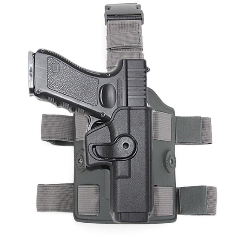 Тактический падения нога кобура для пистолета для Glock 17, 18, 19, расстегиваемый ремешок шириной 22 или 26-31Airsoft бедра Пистолет Чехол адаптер весло...