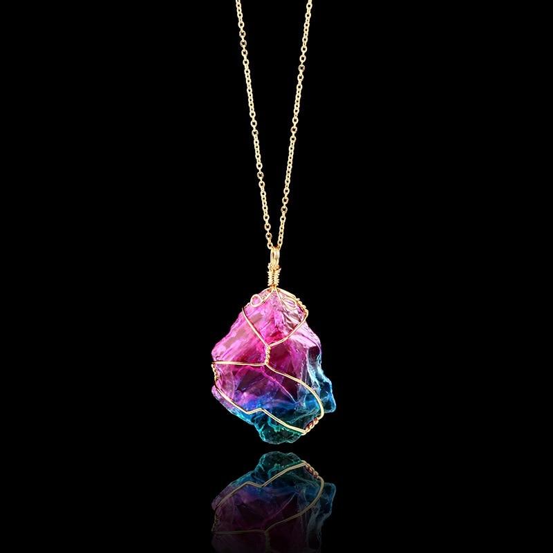 Irregular Natural Rainbow Stone Healing Quartz Crystal Pendant Necklace Full Gold Wire Randomly