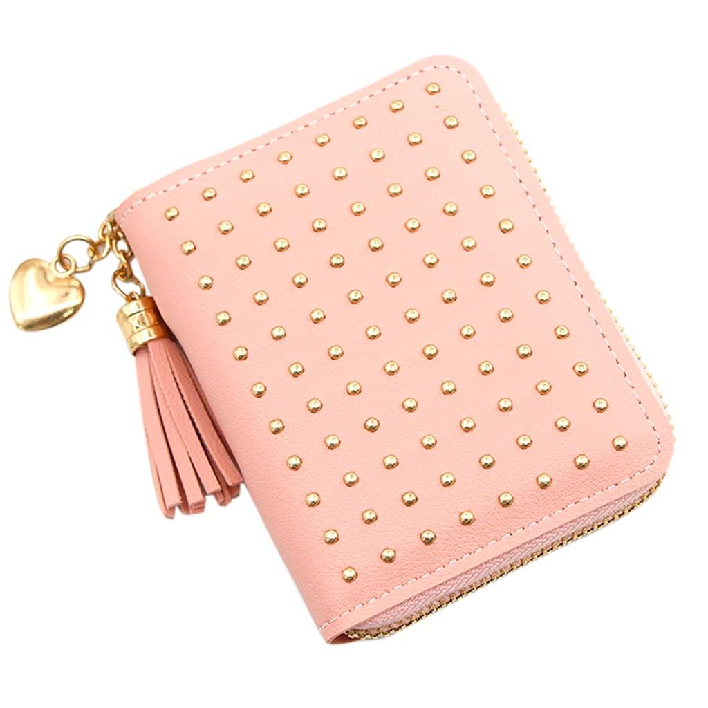2019 Tassel Wallet Women Small Cute Wallet Leather Rivet Women Wallets Zipper Purses Portefeuille Female Clutch Cartera Mujer