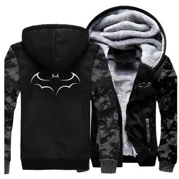 Sudaderas con capucha gruesas de invierno 2019 para hombre, abrigo informal de moda, sudadera con estampado de Batman, ropa de lana cálida para hombre, chaqueta de calidad de calle