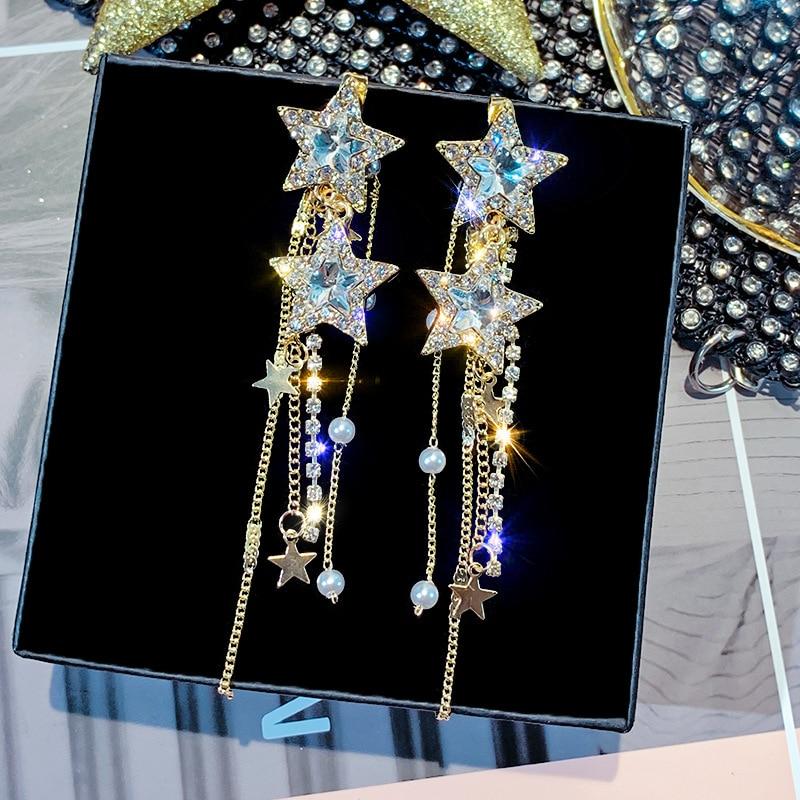 FYUAN Korean Style Star Drop Earrings for Women New Bijoux Long Tassel Shiny Blue Crystal Dangle Earrings Jewelry Accessories