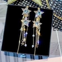 FYUAN Korean Style Star Drop Earrings for Women New Bijoux Long Tassel Shiny Blue Crystal Dangle Jewelry Accessories