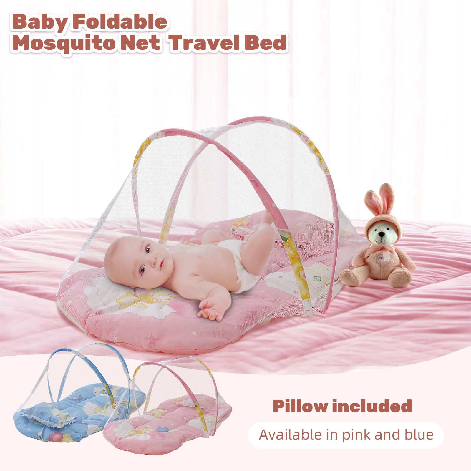 Baby Mosquito Net Foldable Portable Baby Travel Bed Crib Tent with Cushion Pillow for Park Beach Rooms 88x48x42cm