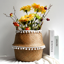Storage Basket Hand-woven Wool Ball Lace Garden Flower Pot Wicker Home Bathroom Laundry with Wheel