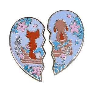 Kwiatowy lis pies odznaka moda kształt serca szwy 2 częściowy zestaw para najlepsi przyjaciele biżuteria