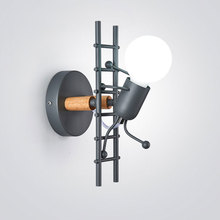 Nordic Led Wall Lamp Creative Personality Lamp Little Man Climb Stair Wall Light For Home Stairs Bedroom Bedside Bathroom Light