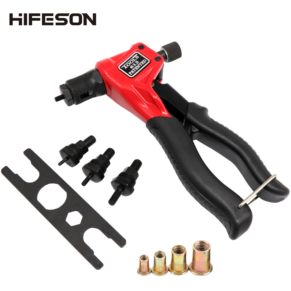 8'' BT-613 Nut Riveter Guns With 40 Pcs Nuts Single Hand Manual Riveter Hand Riveting Rivnut Tool M3/M4/M5/M6