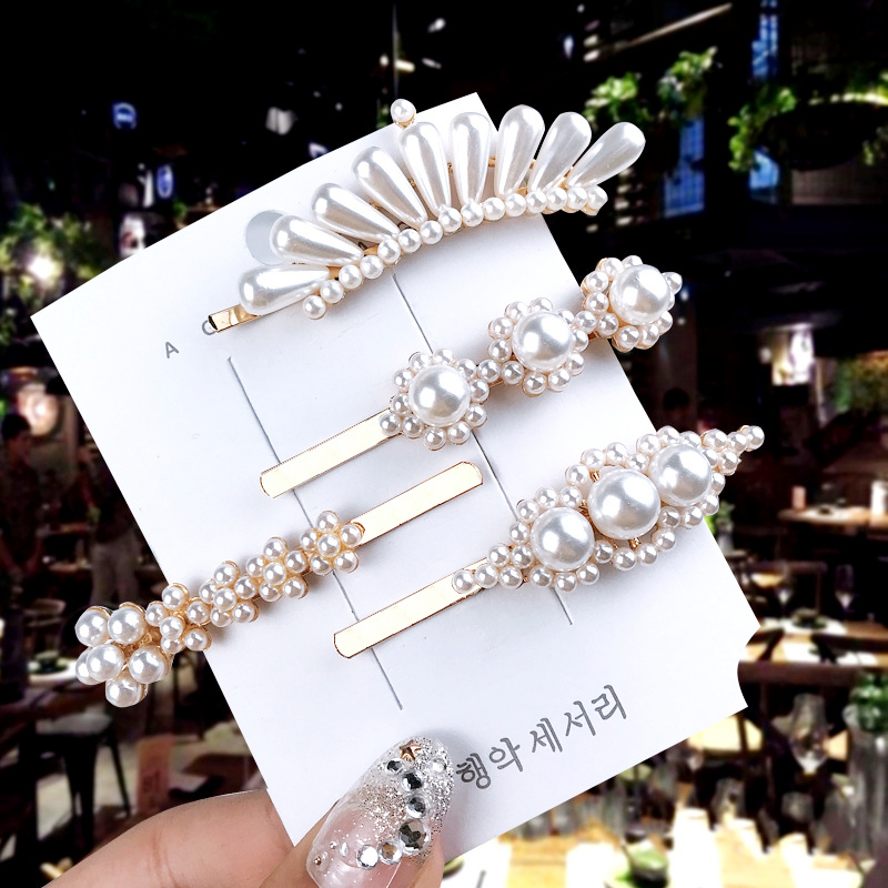 1 Set Advanced Korea Solid Pearl Hairpins Metal Alloy Geometric Barrette Fashion Hair Clips For Women Luxury Hair  Accessories