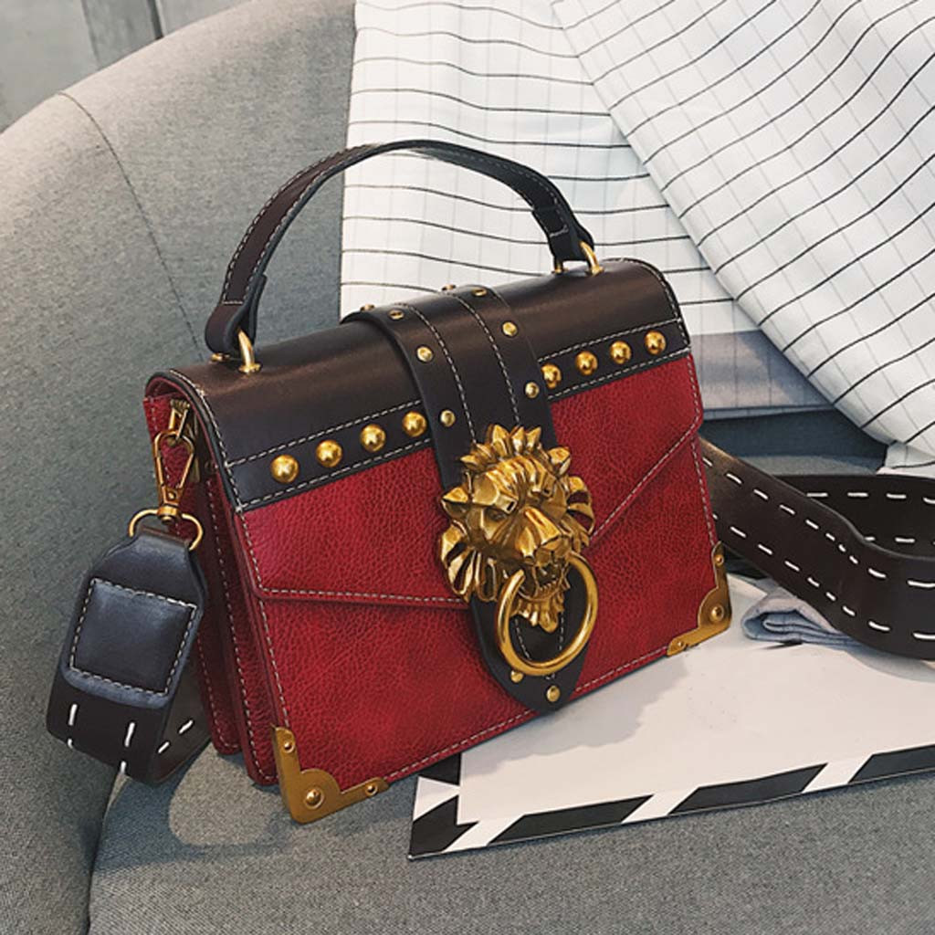 H96fc717a663145059fa03477e442861aw - Handbags Women Bags  Golden Lion Tote Bag With Zipper Fashion Metal Head Shoulder Bag Mini Square Crossbody Bag G3