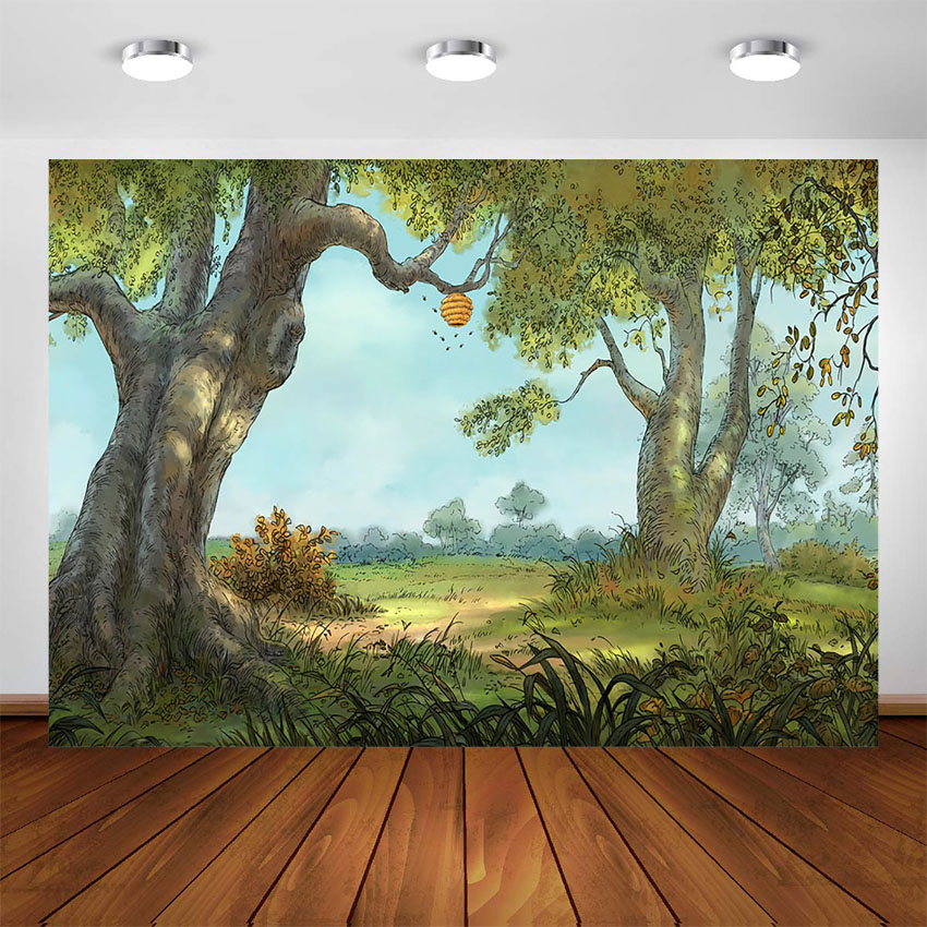 Winnie pooh tema fotografia pano de fundo winnie urso floresta fundo festa decoração suprimentos sobremesa mesa banner