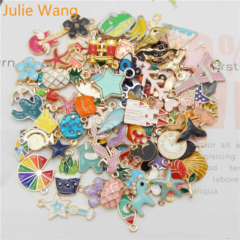 Julie Wang 10PCS Enamel Charms Alloy Random Mixed Flowers Animal Plant Necklace Pendant Bracelet Jewelry Making Accessory(China)