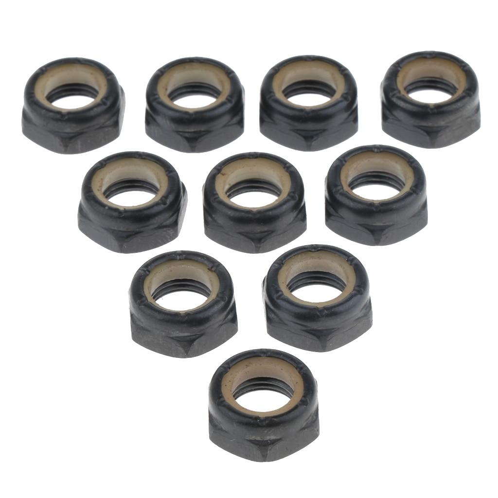 30Pcs Standard Axle Nut 5/8/10mm Skateboarding Hardware Black