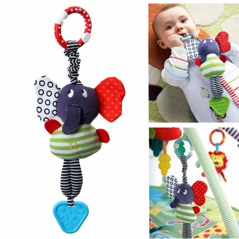 Elephant Lathe Hang Baby Comfort Soft Dolls Educational Toys Teether Cartoon Animal Toys Gift