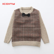 Boys Sweaters With Bowtie Pullovers 2019 Autumn Winter British Style Children Clothing Kids Knitted Cardigan Wool Outerwear Casual Knitwear For Christmas Outfit 2 3 4 5 6 7 Year(China)