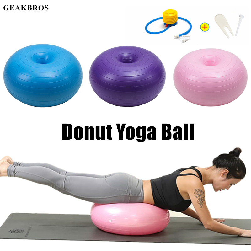 Sports Yoga Balls Pilates Donut Fitness Ball Gym  Exercise Balance Fitball Exercise Pilates Workout Massage Ball With Pump
