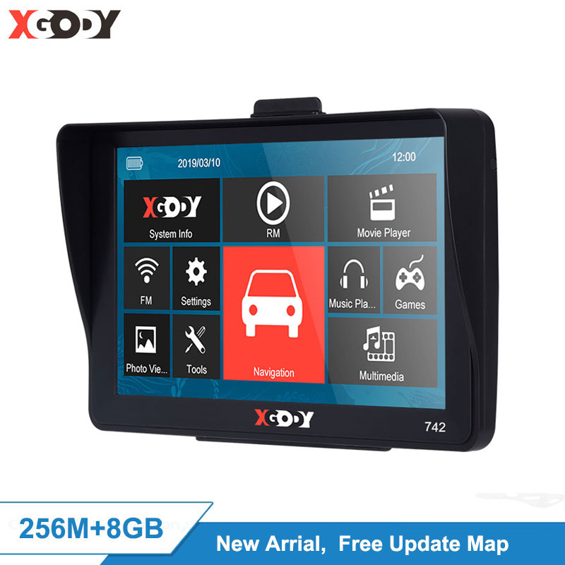 "XGODY 7"" HD Touch Screen Car Truck GPS Navigation Sat Mp3 Player 800*480"