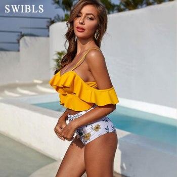 2020 Woman Plus Size Swimwear High Waist S-2XL Bikini Big Women Bathing Suits Floral Vintage Female Sexy Bather Swimsuits 2