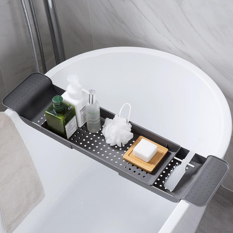 Retractable Non-slip Bathtub Shelf Bathroom Storage Board Multi-Function Bath Bracket Shelf Storage Board Tray Shelves Organizer