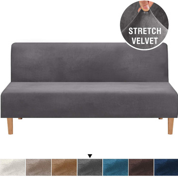 Universal Velvet Plush Armless Futon Cover Stretch Sofa Bed Slipcover cheap Bench Couch Protector Elastic Futon cover