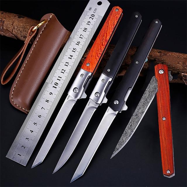 M390 Steel Fold Knife CS Go Portable Pocket Solid Wood Folding Knife Camping Hunting Knife Slicing Fruit Knives  OutdoorTool EDC 1