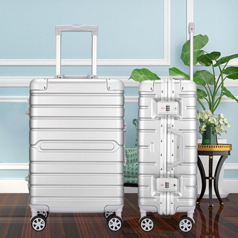 100% алюминиевый каркас PC материал багаж на колёсиках Высокое качество индивидуальные бизнес сплошной цвет износостойкий чемодан
