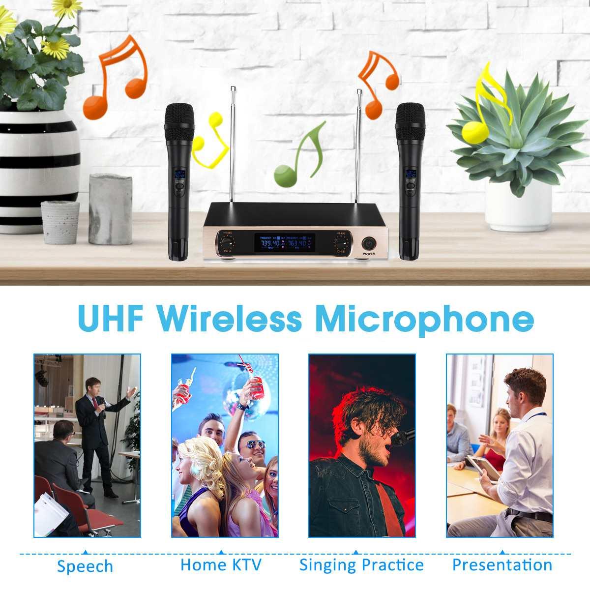 KINCO U26 220V UHF longue portée double canal 2 émetteur de micro portable karaoké professionnel système de Microphone sans fil UHF - 2