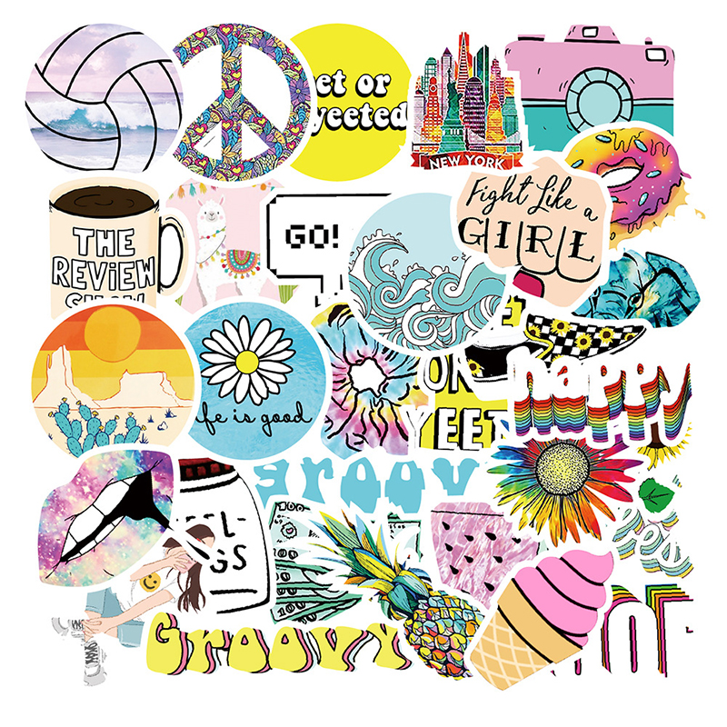 35PCS Cartoon Colorful VSCO Girl Stickers Stickers Skateboard Suitcase Guitar Luggage Laptop Sticker Kid Classic Toy F5