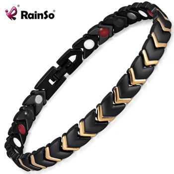 Rainso New Women Black Titanium Health Energy Magnetic Matte Plated Bracelets&Bangles with 4 Elements Therapy Accessories 2021 1