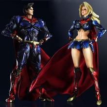 26cm DC Comic figures Superman Play Arts Kai Action figure Super girl Super woman Collectible PVC Model Toys Anime Figure toy стоимость