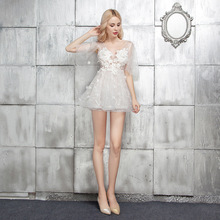 Sexy Evening Party Dress White V-neck Perspective Slim Nightclub Short Prom Puffy Dresses Applique