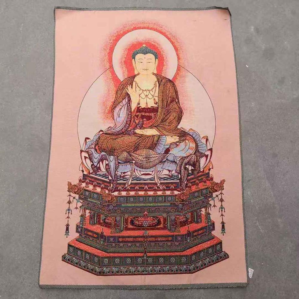 Religious Buddha Thangka Embroidered Brocade Machine Embroidered Gold Thread Embroidered Nanwu Amitabha Buddha Hung Like Buddha