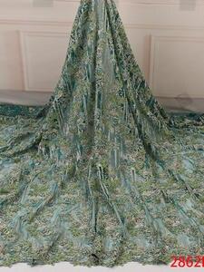 Lace-Fabrics Beads Wedding-Dress Handmade Nigerian High-Quality African Luxury with Tulle