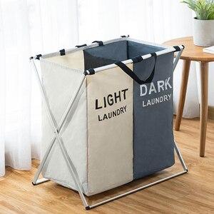 Image 4 - Cesto de almacenaje de ropa sucia, organizador de tres rejillas, cesto plegable, cesto de lavandería grande, cesta de lavandería impermeable para el hogar saco ropa sucia
