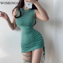 2020 夏の新ファッション女性グリーンニット弾性タンクスリムノースリーブガール女性のドレスセクシーな巾着ヨーロッパE232