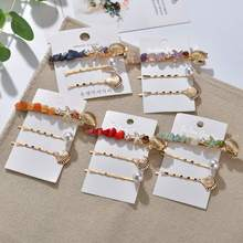 Kymyad 3Pcs/ Set Bohemia Fashion Metal Hairpins Natural Shell Stone Beads Hair Clips Bobby Pin Barrette Hairpin Accessories