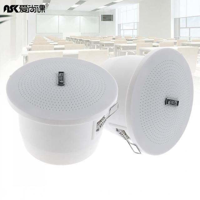 2pcs 3 Inch 3W Fashion Waterproof Radio Ceiling Speaker Public Broadcast Background Music Loudspeaker for Home Supermarket