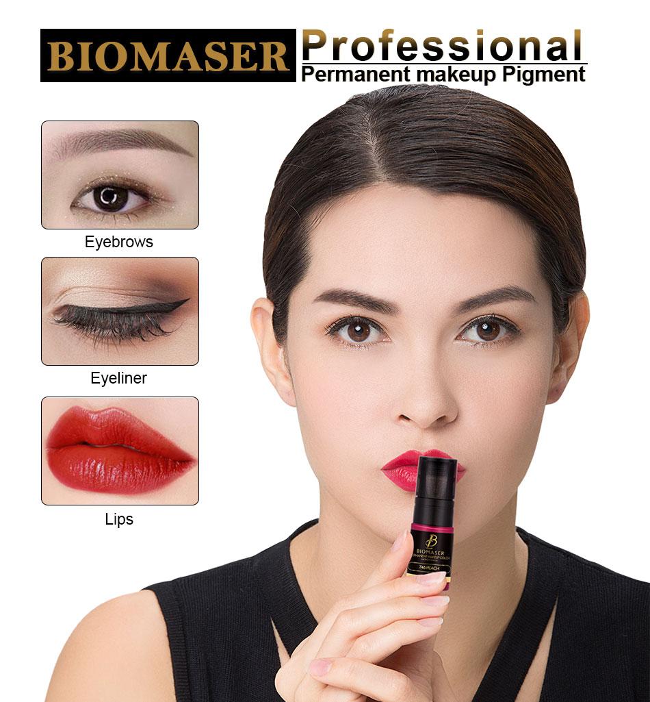 BIOMASER 1pcs Medical Permanent Makeup Pigment Tattoo Ink 12ml Eyebrow Eyeliner Lip Areola Mixed Color Tatooo Machine Supply
