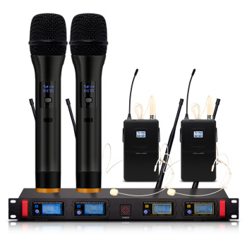 Wireless microphone with dynamic display, UHF karaoke system, wireless, 2, manual, 2 skin colors, headset, wireless microphone