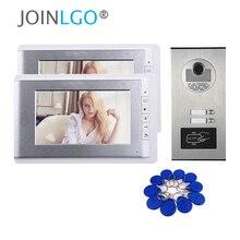 """7 """"Kleuren Lcd Video Deurtelefoon Intercom Systeem 2 Monitoren + Rfid Access Outdoor Camera Voor 2, 3, 4, 6, 8, 10, 12 Appartement"""