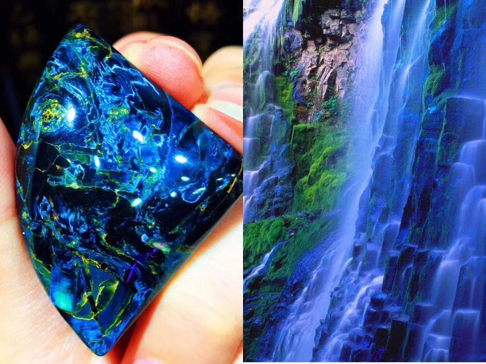 Image 4 - Natural Blue Pietersite Gemstone 43*31*9.5mm Cat Eye Powerful Chatoyant Women Necklace Pendant Crystal Fan Shape Healing AAAAAPendants   -